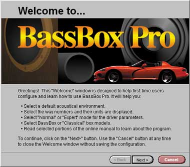 BassBox Pro Welcome window.